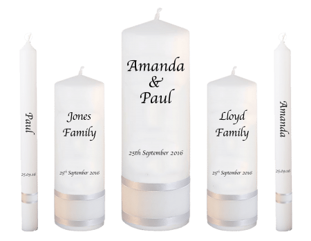 Wedding Candle Set Deluxe Classic Font 1 Red Hearts