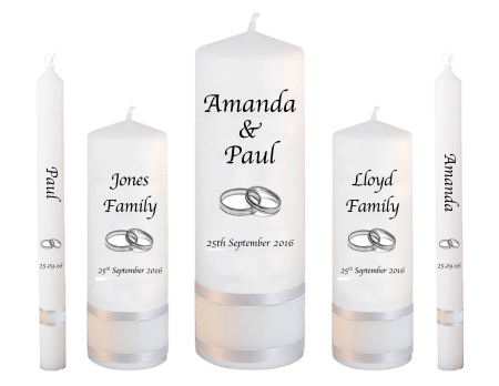Wedding Candle Set Deluxe Classic Font 1 Silver Rings