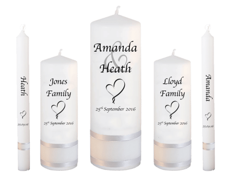 Wedding Candle Set Deluxe Modern Font 1 Heart