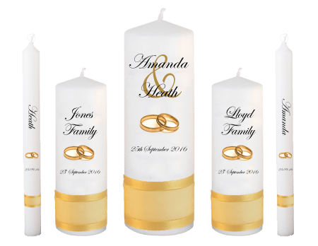 Wedding Candle Set Deluxe Modern Font 2 Gold Rings