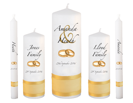 Wedding Candle Set Deluxe Modern Font 3 Gold Rings