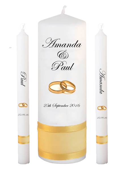 Wedding Candle Lighting Set Classic Font 2 gold rings