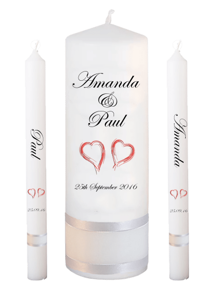 Wedding Candle Lighting Set Classic Font 2 - red hearts