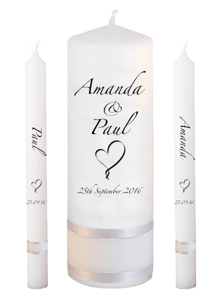 Wedding Candle Set Lighting Classic Font 3 Heart