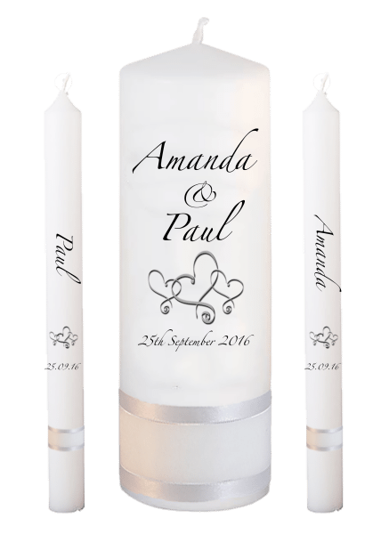 Wedding Candle Lighting Set Classic Font 3 hearts