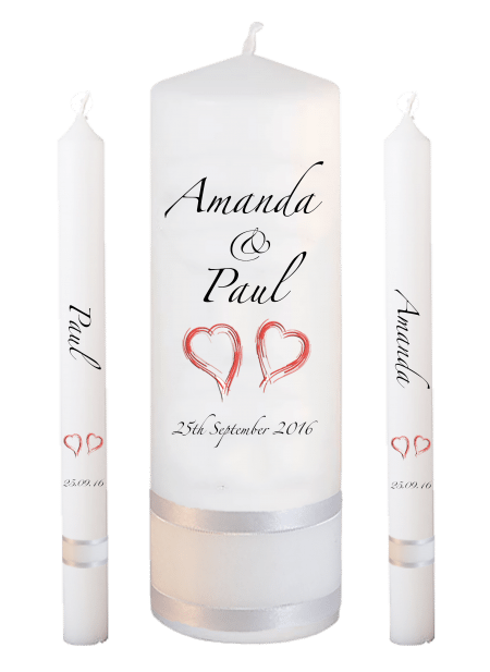 Wedding Candle Set Lighting Classic Font 3 Red Hearts