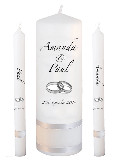 Wedding Candle Set Lighting Classic Font 3 Silver Rings