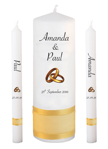 Wedding Candle Set Lighting Classic Font 4 Gold Rings Upright