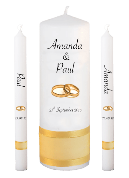Wedding Candle Lighting Set Classic Font 4 gold rings