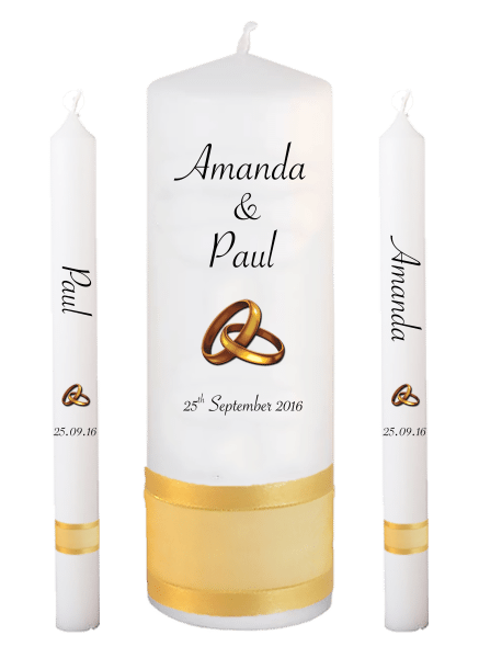 Wedding Candle Lighting Set Classic Font 4 gold rings upright