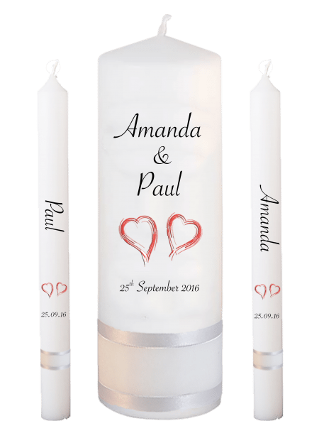 Wedding Candle Set Lighting Classic Font 4 Red Hearts