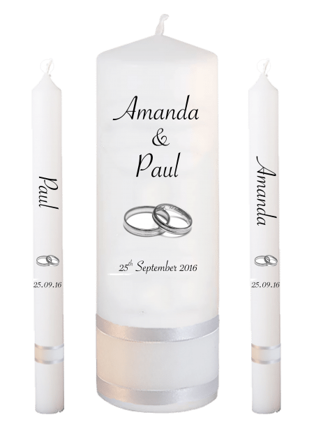 Wedding Candle Set Lighting Classic Font 4 Silver Rings