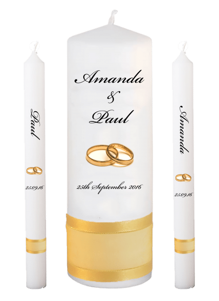 Wedding Candle Set Lighting Classic Font 5 Gold Rings