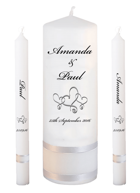 Wedding Candle Set Lighting Classic Font 5 Hearts