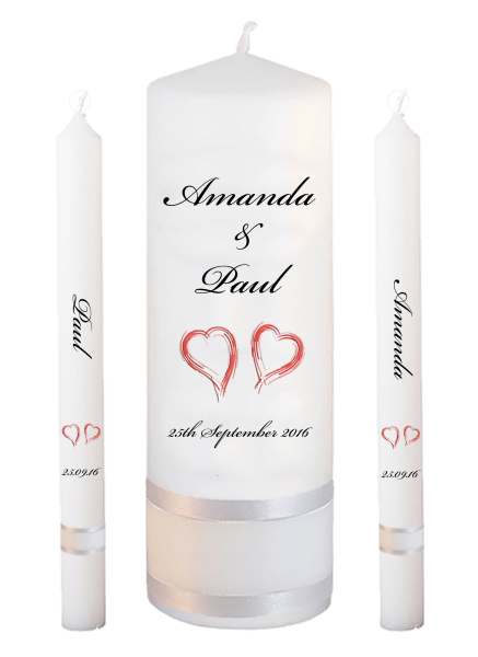 Wedding Candle Lighting Set Classic Font 5 - red hearts