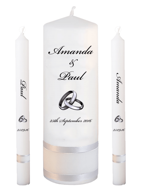Wedding Candle Set Lighting Classic Font 5 Silver Rings Upright