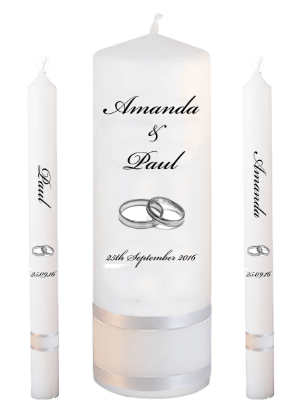 Wedding Candle Lighting Set Classic Font 5 silver rings