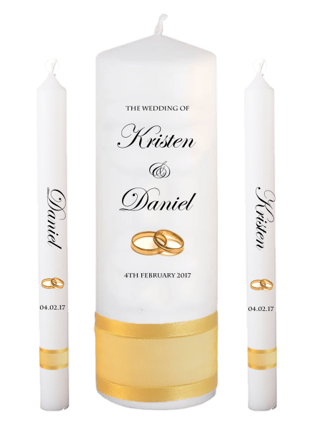 Wedding Candle Lighting Set Formal Font 2 - gold rings