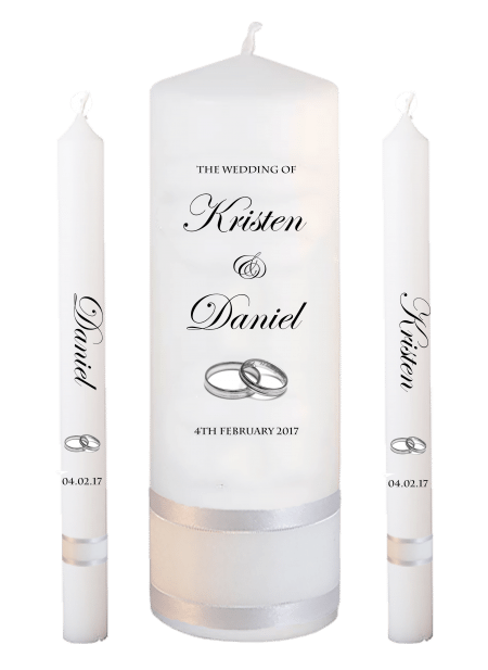 Wedding Candle Set Lighting Formal Font 2 Silver Rings