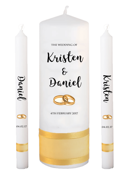 Wedding Candle Lighting Set Formal Font 3 - gold rings