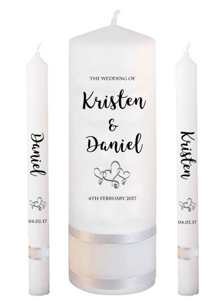 Wedding Candle Set Lighting Formal Font 3 Hearts