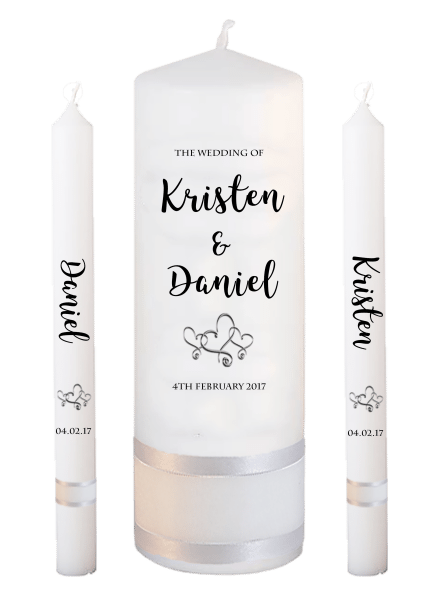 Wedding Candle Lighting Set Formal Font 3 - hearts