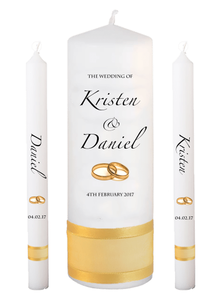Wedding Candle Lighting Set Formal Font 4 - gold rings