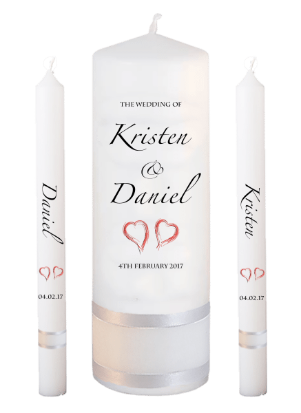 Wedding Candle Lighting Set Formal Font 4 - red hearts