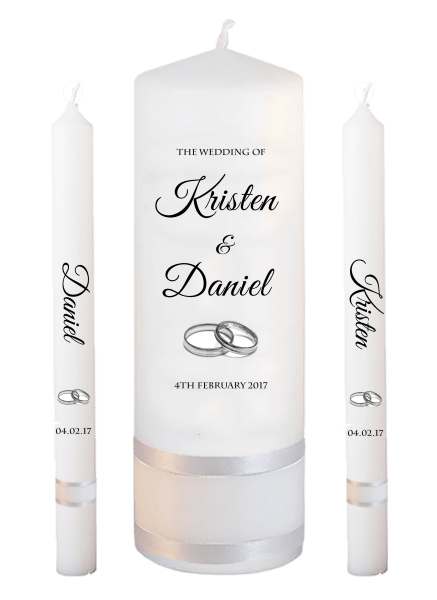 Wedding Candle Lighting Set Formal Font 5 - silver rings