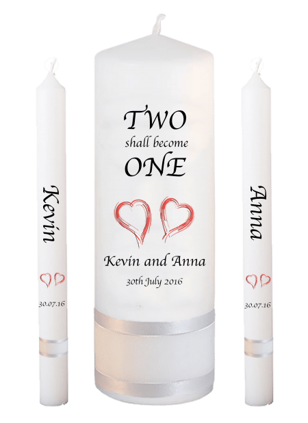 Wedding Candle Set Lighting Inscription Font 1 Red Hearts