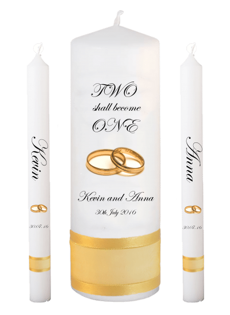 Wedding Candle Set Lighting Inscription Font 2 Gold Rings