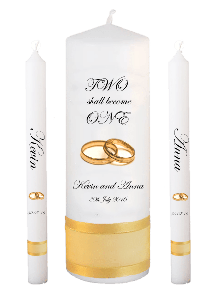Wedding Candle Lighting Set Inscription Font 2 - gold rings