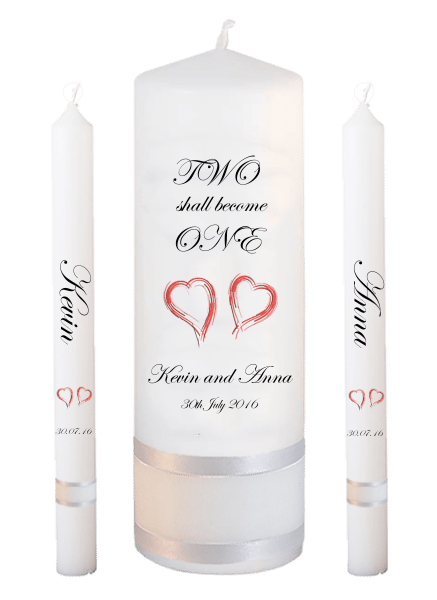 Wedding Candle Lighting Set Inscription Font 2 - red hearts