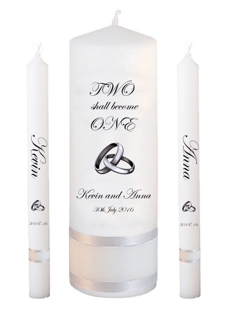 Wedding Candle Set Lighting Inscription Font 2 Silver Rings Upright