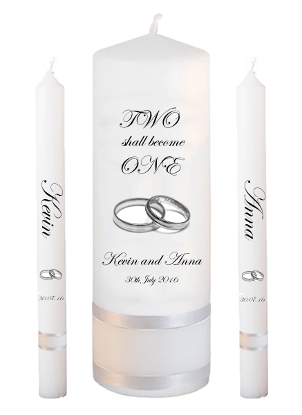 Wedding Candle Lighting Set Inscription Font 2 - silver rings