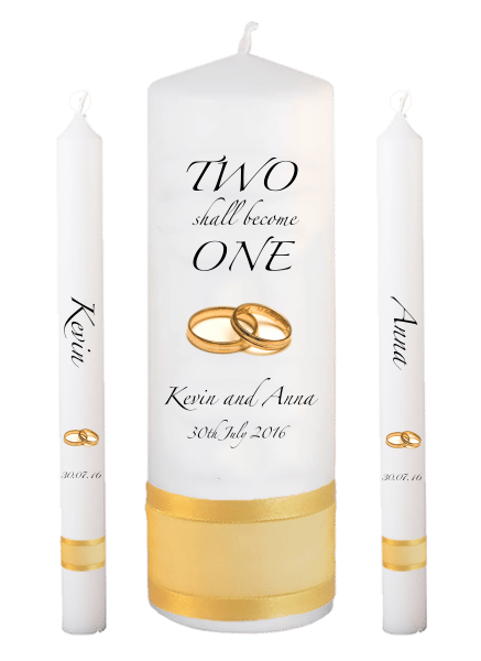 Wedding Candle Lighting Set Inscription Font 3 - gold rings