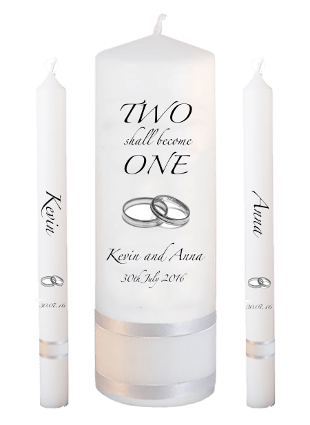 Wedding Candle Set Lighting Inscription Font 3 Silver Rings