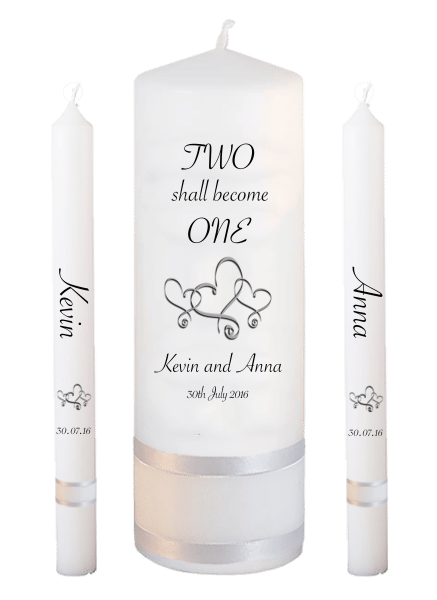 Wedding Candle Lighting Set Inscription Font 4 - hearts