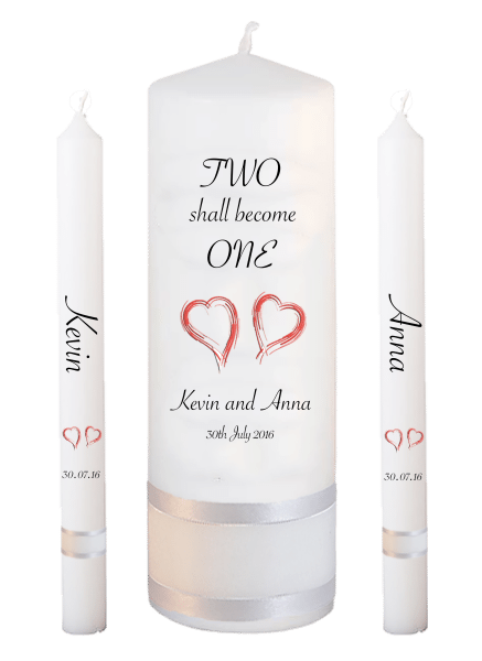 Wedding Candle Lighting Set Inscription Font 4 - red hearts