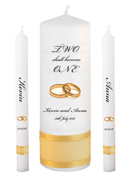 Wedding Candle Set Lighting Inscription Font 5 Gold Rings