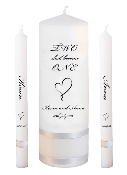 Wedding Candle Lighting Set Inscription Font 5 - heart