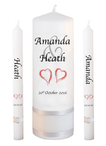 Wedding Candle Lighting Set Modern Font 1 - red hearts