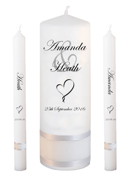 Wedding Candle Lighting Set Modern Font 2 heart