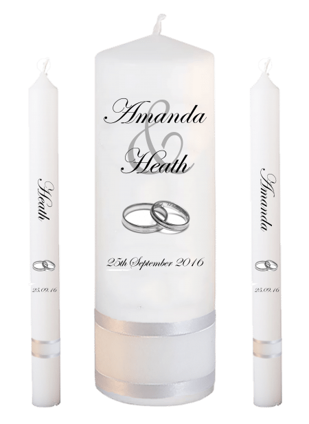 Wedding Candle Set Lighting Modern Font 2 Silver Rings