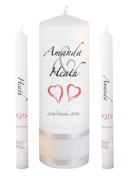 Wedding Candle Lighting Set Modern Font 3 - red hearts