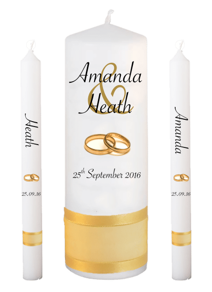 Wedding Candle Lighting Set Modern Font 4 gold rings