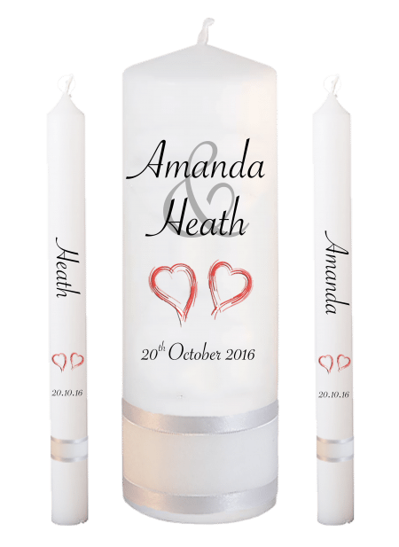 Wedding Candle Set Lighting Modern Font 4 Red Hearts