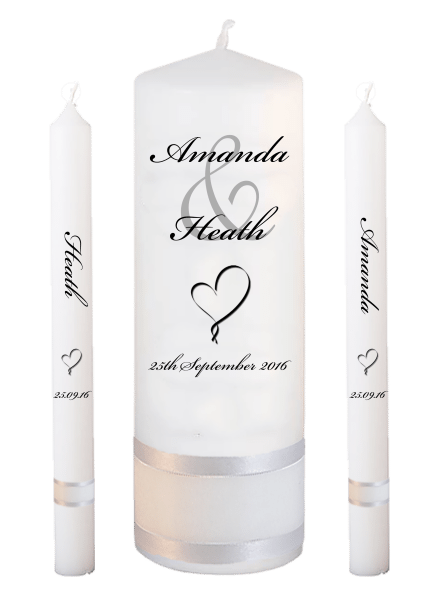 Wedding Candle Lighting Set Modern Font 5 heart