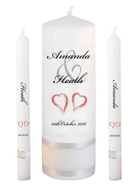 Wedding Candle Set Lighting Modern Font 5 Red Hearts