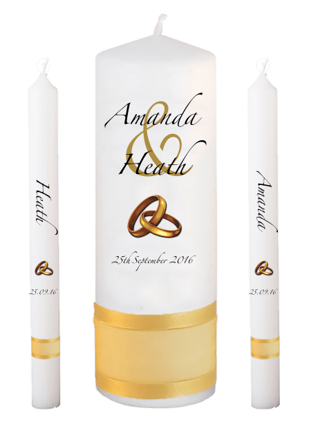 Wedding Candle Set Lighting Modern Font 3 Gold Rings Upright